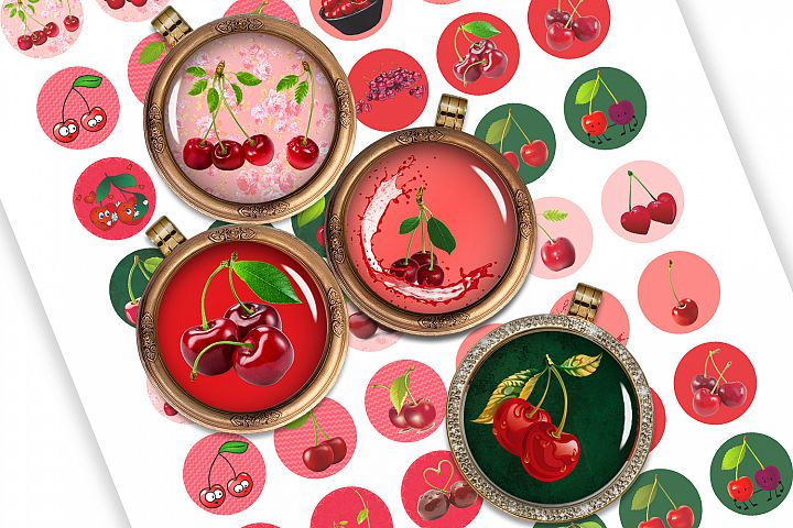 Cherries Digital Collage Sheet Printable images for Cabochon