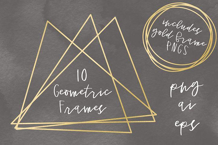 10 Gold Foil Geometric Frames