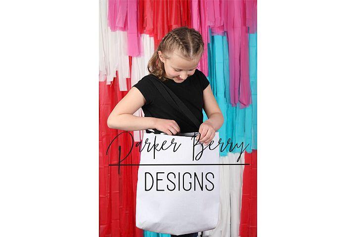 Girl Child Model Blank Tote Bag for Mock up, Vertical