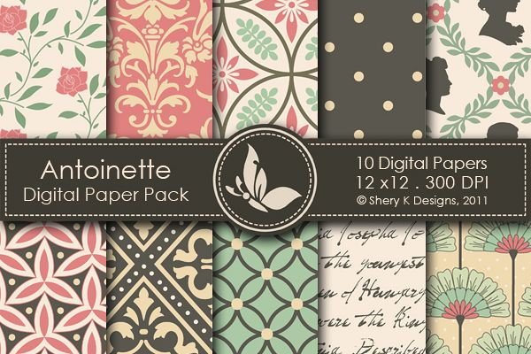 Antoinette Paper Pack - 10 Printable Digital papers - 12 x12 - 300 DPI