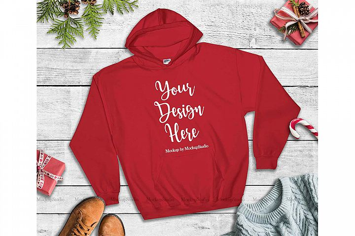 Red Christmas Hoodie Mockup, Winter Holiday Flat Lay