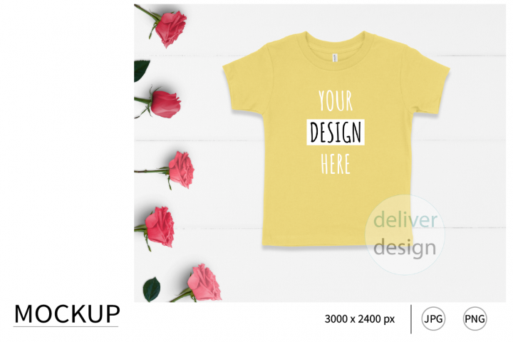 Yellow Unisex Toddler Mockup. Bella Canvas 3001T. Roses.