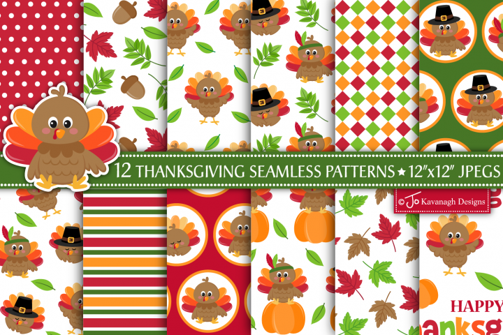 Thanksgiving Digital Paper Bundle, Seamless Patterns -P45