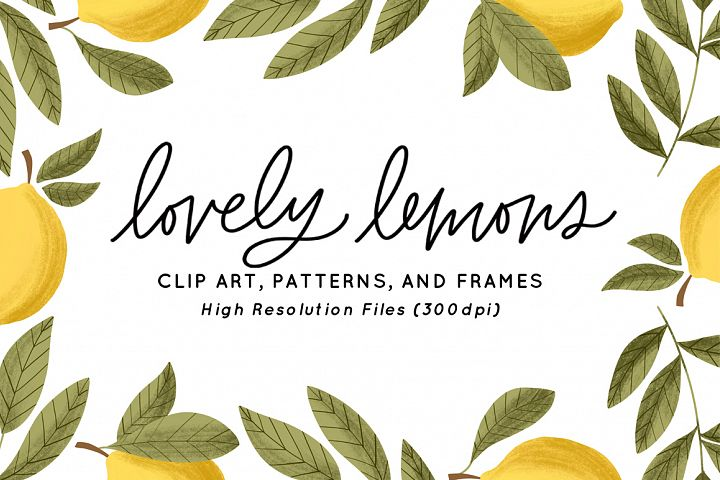 Lovely Lemons Clip Art & Patterns