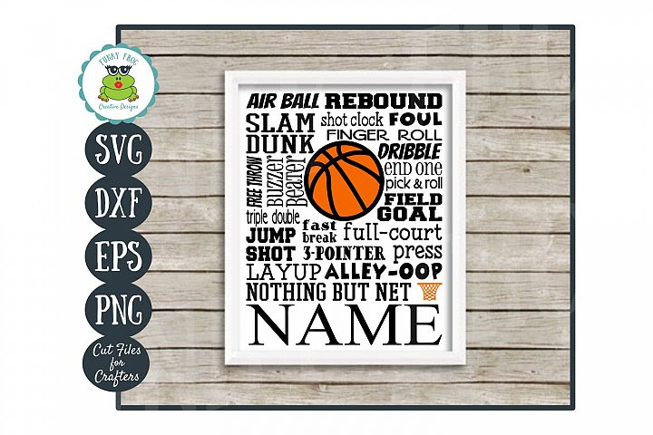 Basketball Subway Art SVG Cut File for Crafters