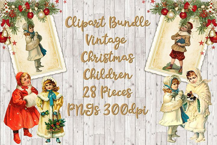 Clipart Bundle Vintage Christmas Vintage Children PNG