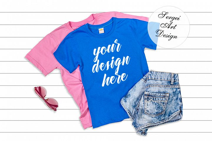 Pink and Blue Unisex T-Shirt Flat Lay Mockup on White Backgr