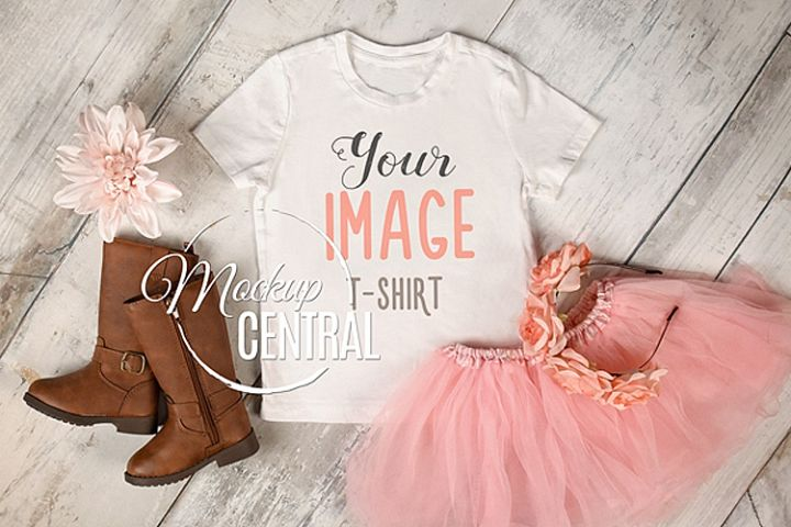 Pretty Youth Girls White T-Shirt Mockup, Child Shirt JPG