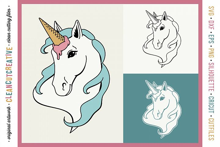 FUNNY UNICORN Ice Cream Horse - original cut file design SVG