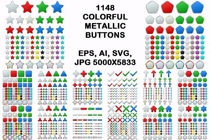 1148 colored geometric metallic buttons (EPS, AI, SVG, JPG 5000x5833)