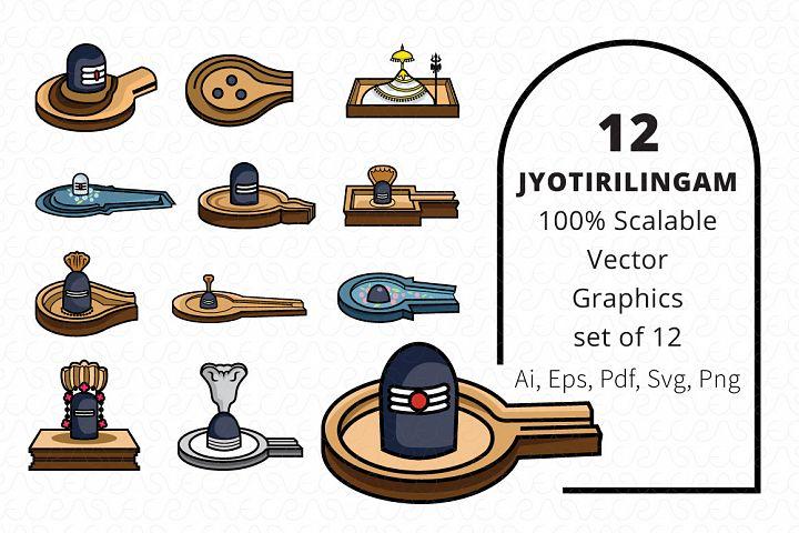 12 Jyotirilingas Jyotirilingam Vector Graphic Set of 24