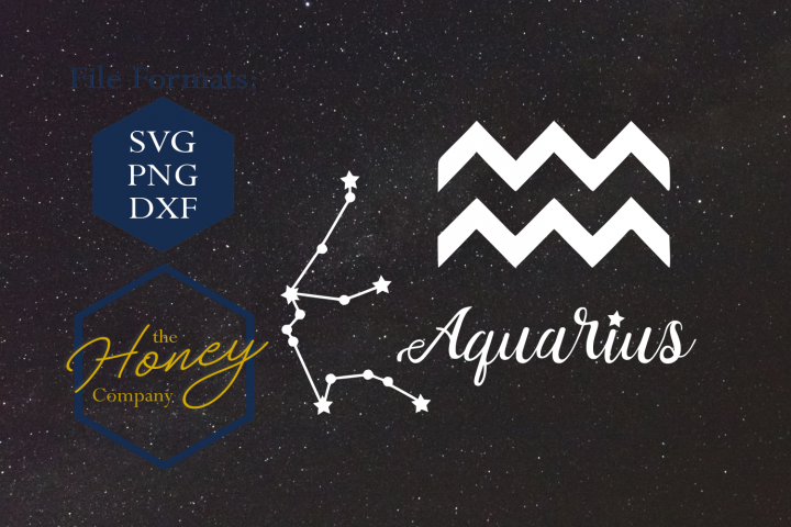 Aquarius SVG PNG DXF Zodiac Cutting File Vector Download