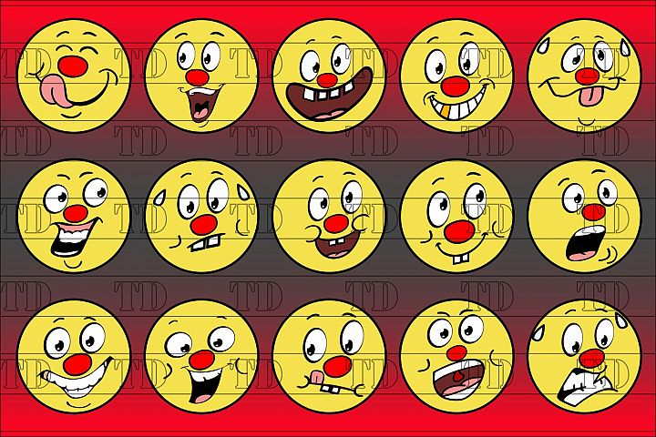 Red Nose Emoticon Smilie Set
