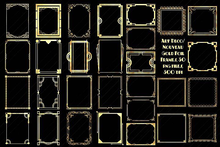 Art Deco/Nouveau Gold Foil Frames Clip Art