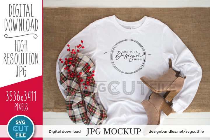 Mockup Bella Canvas 3501, white Christmas Shirt, winter mock