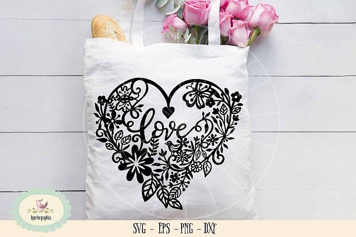 love heart paper cut SVG PNG wedding paper cut