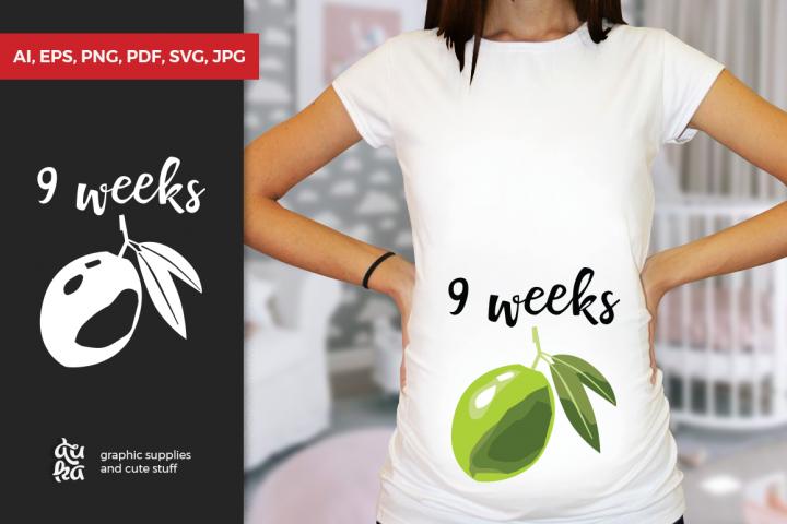 Pregnancy Week by Week SVG Cut Files - Green Olive