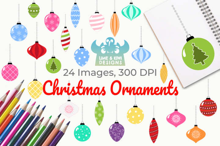 Christmas Ornaments Clipart, Instant Download Vector Art