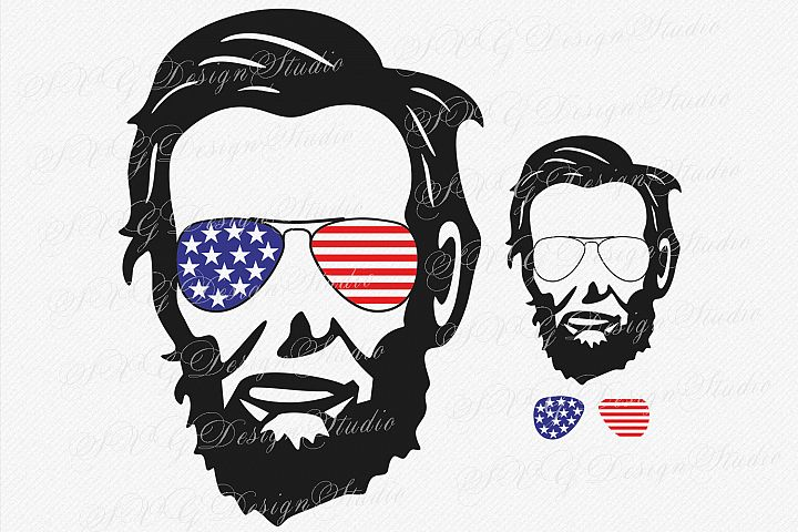 Abraham Lincoln Head, SVG Vector file, Abraham Lincoln svg,  Lincoln head Sunglasses svg, Fourth of July Patriotic SVG Sunglasses Svg Glasses Svg