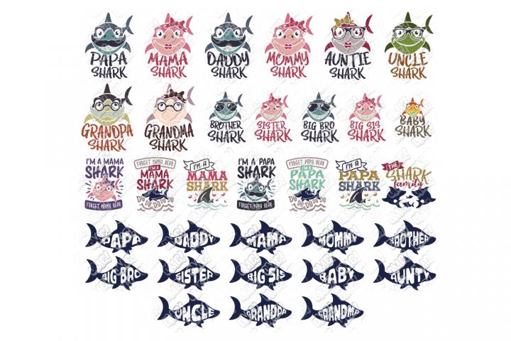 Shark Family SVG Bundle in SVG, DXF, PNG, EPS, JPEG