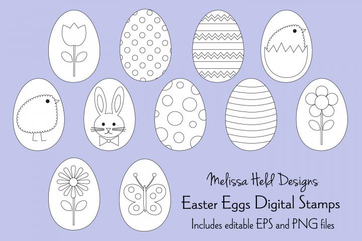 Easter Egg Digital Stamps Clipart