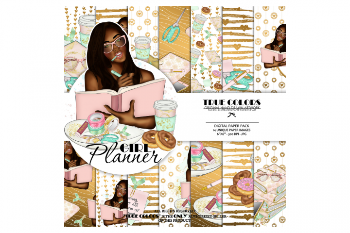 Afroamerican Planner Girl Afroamerican Digital Paper Pack