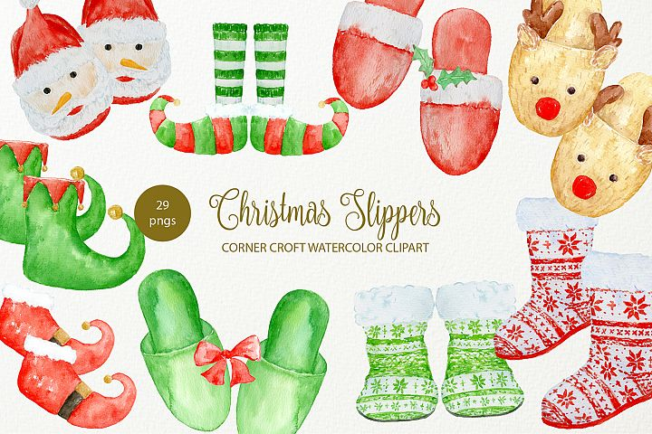 Hand Drawn Christmas Slipper Illustration