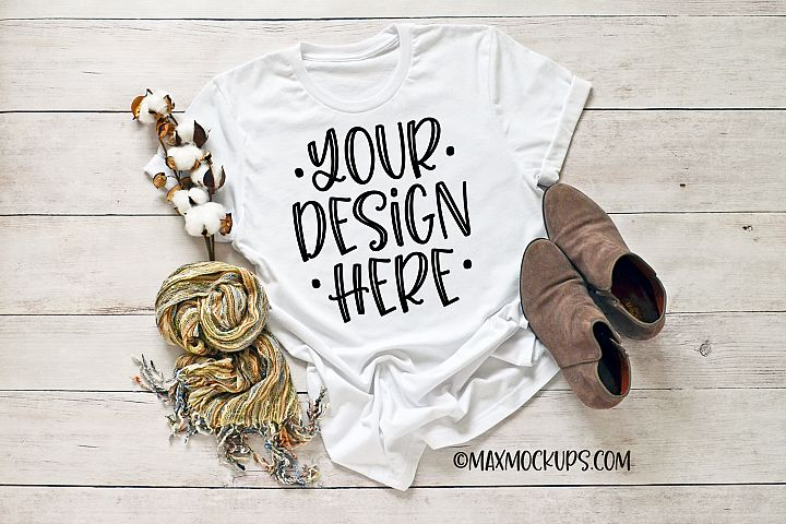 White t-shirt mockup Bella Canvas 3001, scarf, shoes, browns