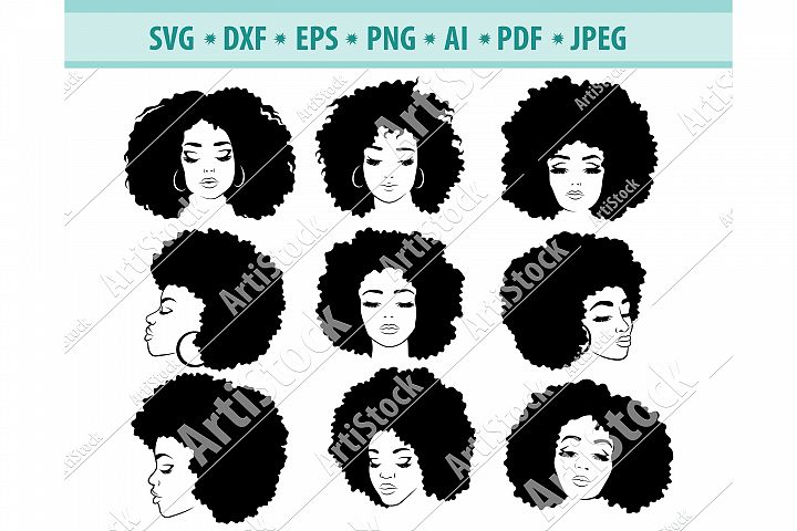 Afro hairstyles SVG, Black womans Png, Dreadlocks Dxf, Eps