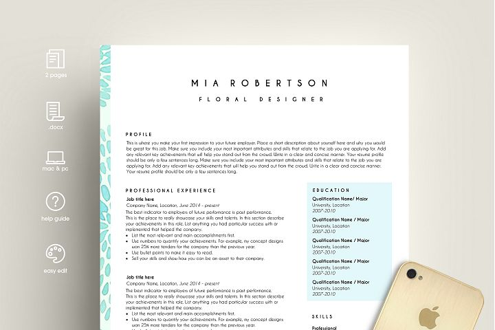 creative resume template word / floral feminine