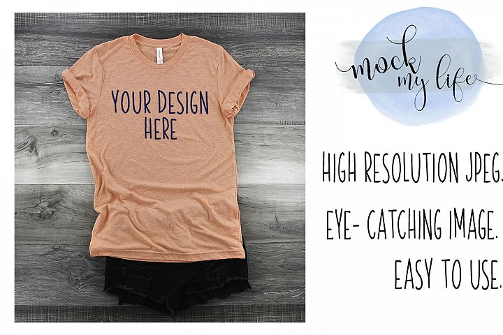 Mockup Bella Canvas Shirt / Flat Lay / Orange Shirt