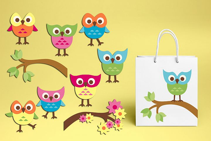 Spring summer cute owls graphic illustrations