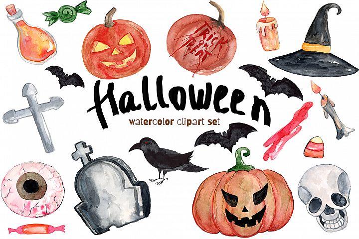 Watercolor Clipart Halloween Bundles with Bats Pumpkins