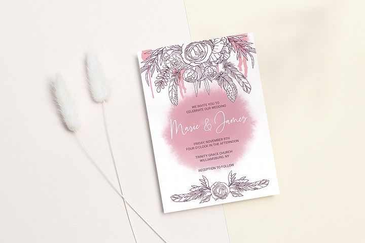 Boho Wedding Invitation Cards. Floral Printable Template example image 5