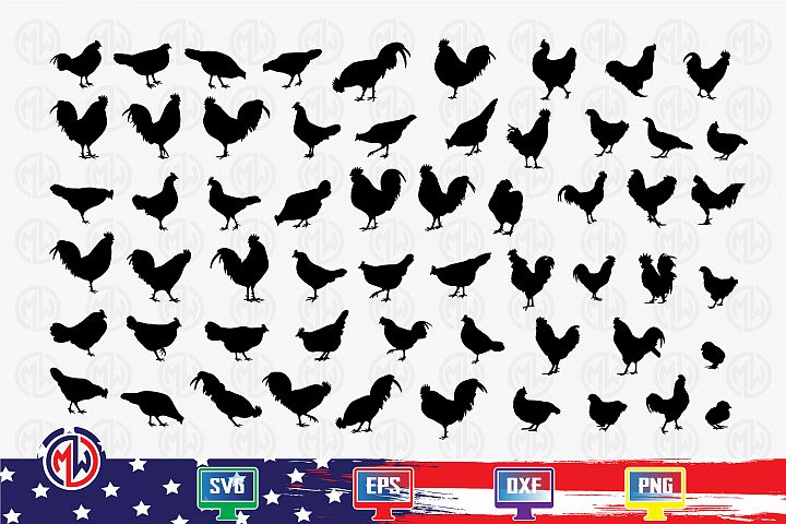 Chicken SVG, EPS, DXF, PNG for Cricut and More !