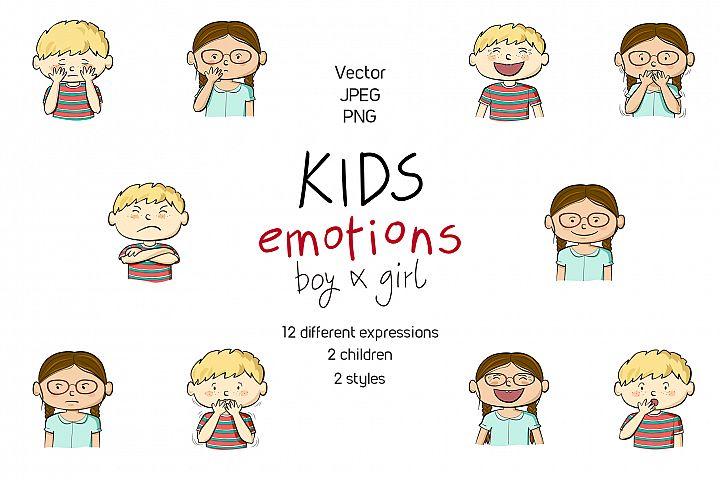 Kids emotions vector illustrations