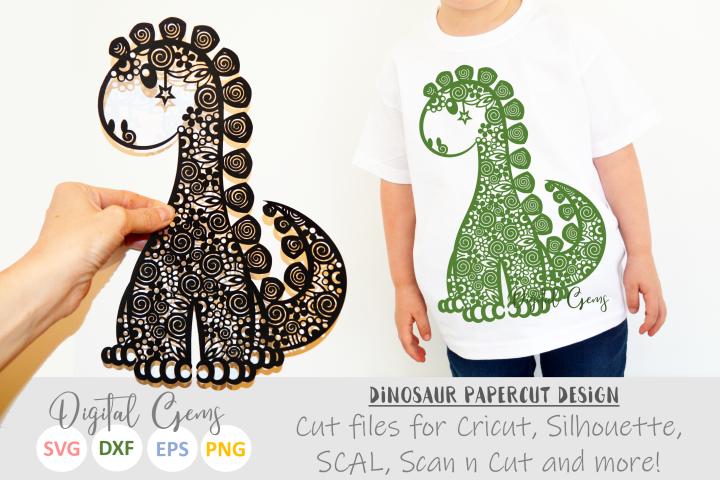 Dinosaur Zentangle paper cut design SVG / DXF / EPS files