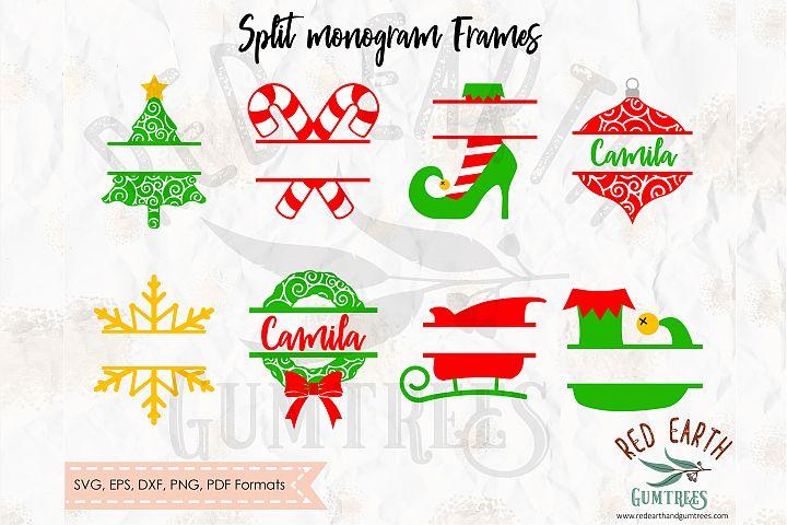 Christmas split monogram frame in SVG,DXF,PNG,EPS,PDF format