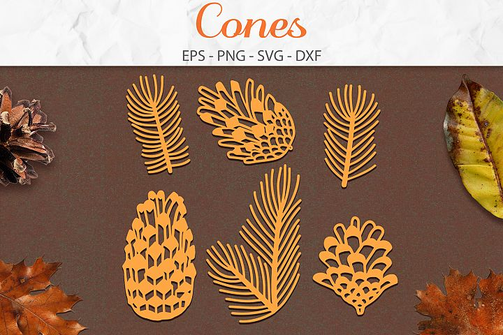 Cones Set svg png dxf eps - Cone Pine Branches Paper Cut