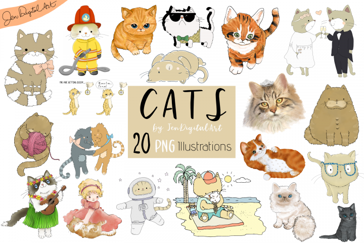 CATS | 20 Assorted PNG Clip Art Illustrations