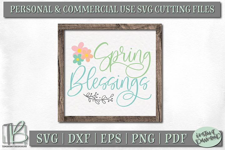 Spring Sign SVG File, Spring Blessings SVG Cut File, Wreath