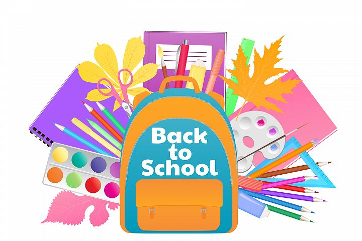 Back to school banner. Backpack with study supplies