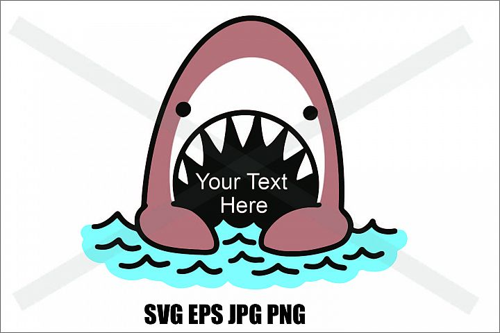 Cute Shark in the ocean- SVG EPS JPG PNG