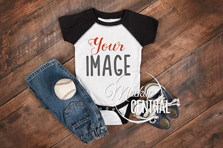 Baby Onepiece Bodysuit Raglan Baseball Sport Mockup Shirt