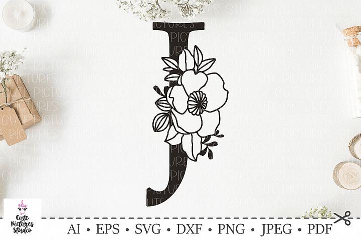 Botanical alphabet svg. Floral letter J svg. Bundle SVG, DXF
