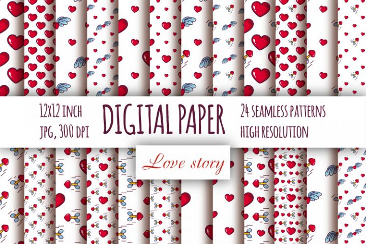 Hearts digital paper. Valentines day seamless patterns