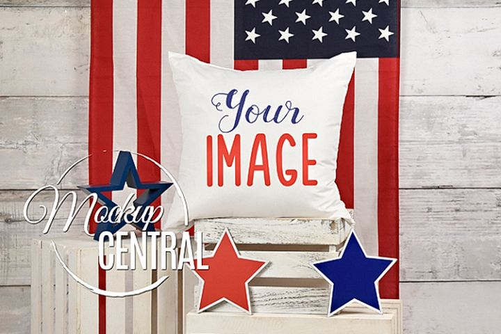 USA Mockup Pillow, White Square Patriotic Chair Pillow JPG