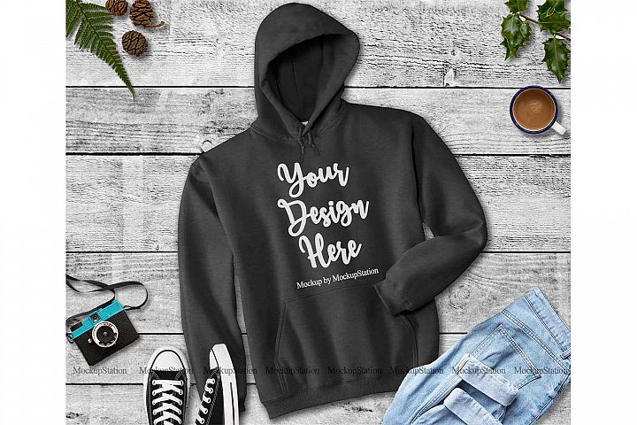 Dark Heather Grey Hoodie Mockup, Hooded Sweatshirt Mock Up