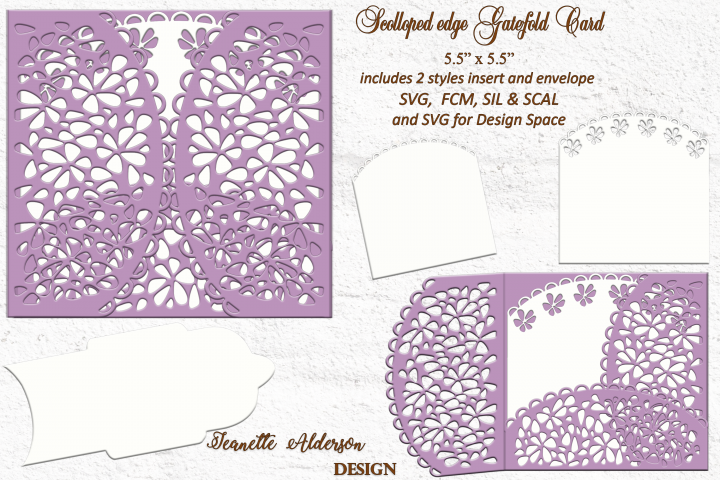 Scolloped edge gatefold SVG card cutting file any occasion