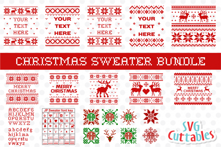 Christmas Sweater Bundle | Christmas Cut Files